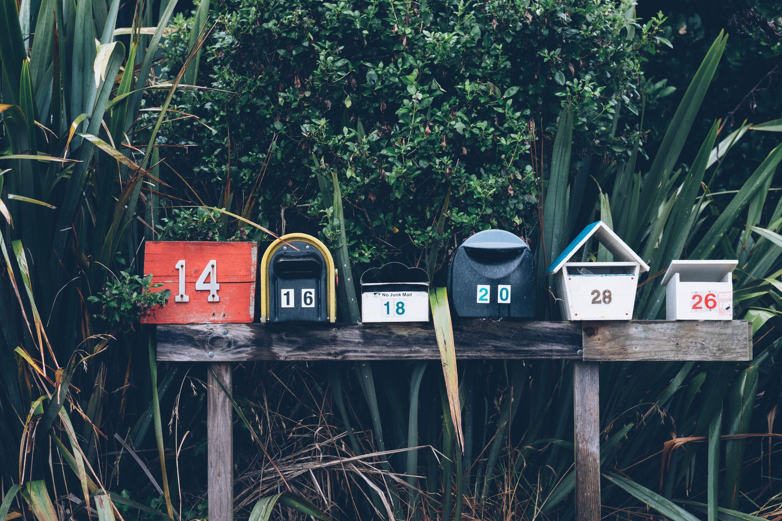row of neighborhood mailboxes