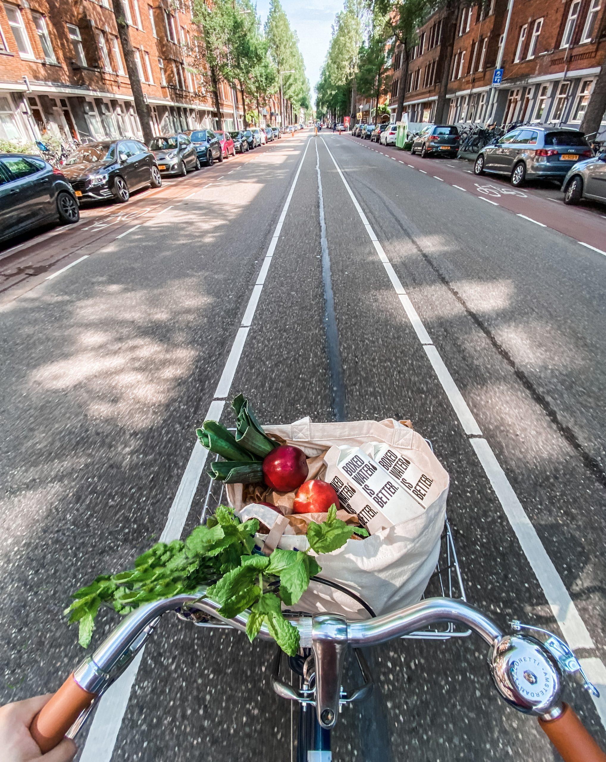food in a bike basket
